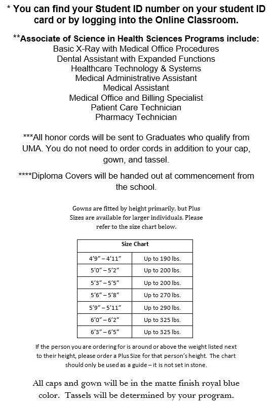 Ultimate Medical Academy Uma Cap And Gown Size Chart