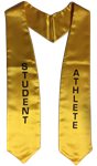 "Gold printed ""Student Athlete"" stoles"